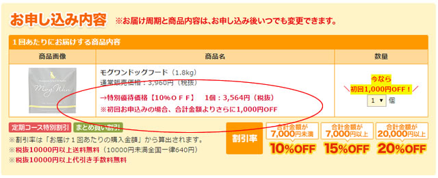 モグワン1000円オフキャンペーン実施中